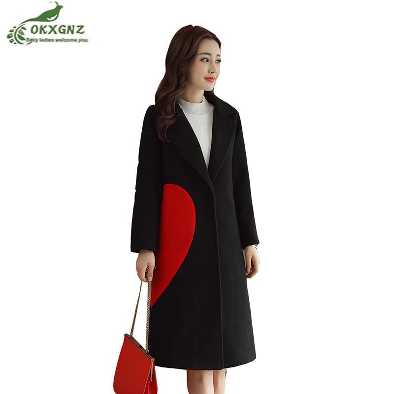 Mince De Hiver Survêtement Coeur Grande Femme Impression Laine En Taille Black Okxgnz khaki Femmes Long Automne Manteau Forme Moyen Tempérament Nouvelles IqpCWtwwxz