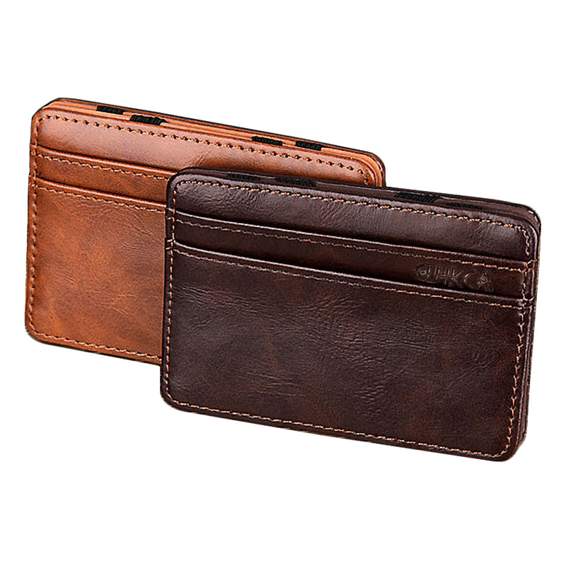 Men Male PU Leather Casual  Magic Wallet Mini Cute Wallets Purse For Women Fashion Credit Bank ID Card Case Holder For Students etya bank credit card holder card cover