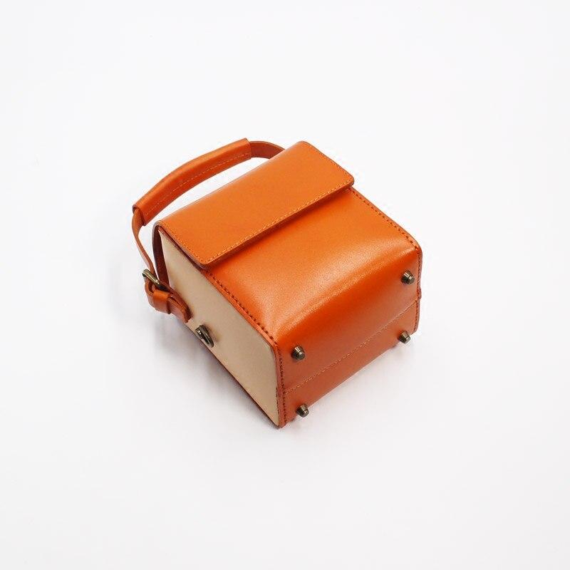 marron Vache Cuir Petit Unique café Orange Mini vert Réel En La orange D'épaule À Japon De Peau Dame Noir Femelle rouge Main Véritable Femmes Boîte Style Bourse Sac wZRYgZAqx