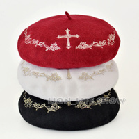 3 Colors Black White Red With Gold Winter Women Gothic Lolita Wool Rose Cross Embroider Floral