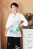 Traditional Chinese Tops Women Linen Cotton Blouse Summer T Shirt Size to 3XL