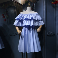 4 Colors 2018 New Fashion Summer Women's Sweet Off Shoulder Ruffles Doll Shirt Solid Color Ladies Sweet A line Dress