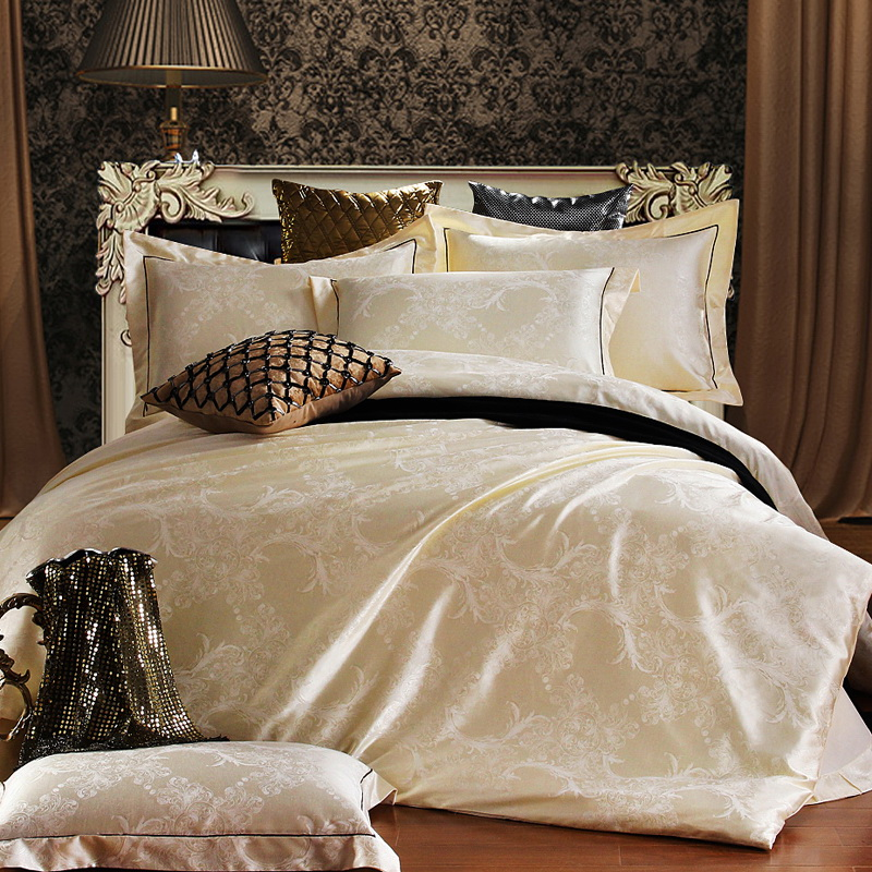 lucky textile bedding set jacquard luxury cotton bed set bed cover sheet 4pcs set queen king. Black Bedroom Furniture Sets. Home Design Ideas