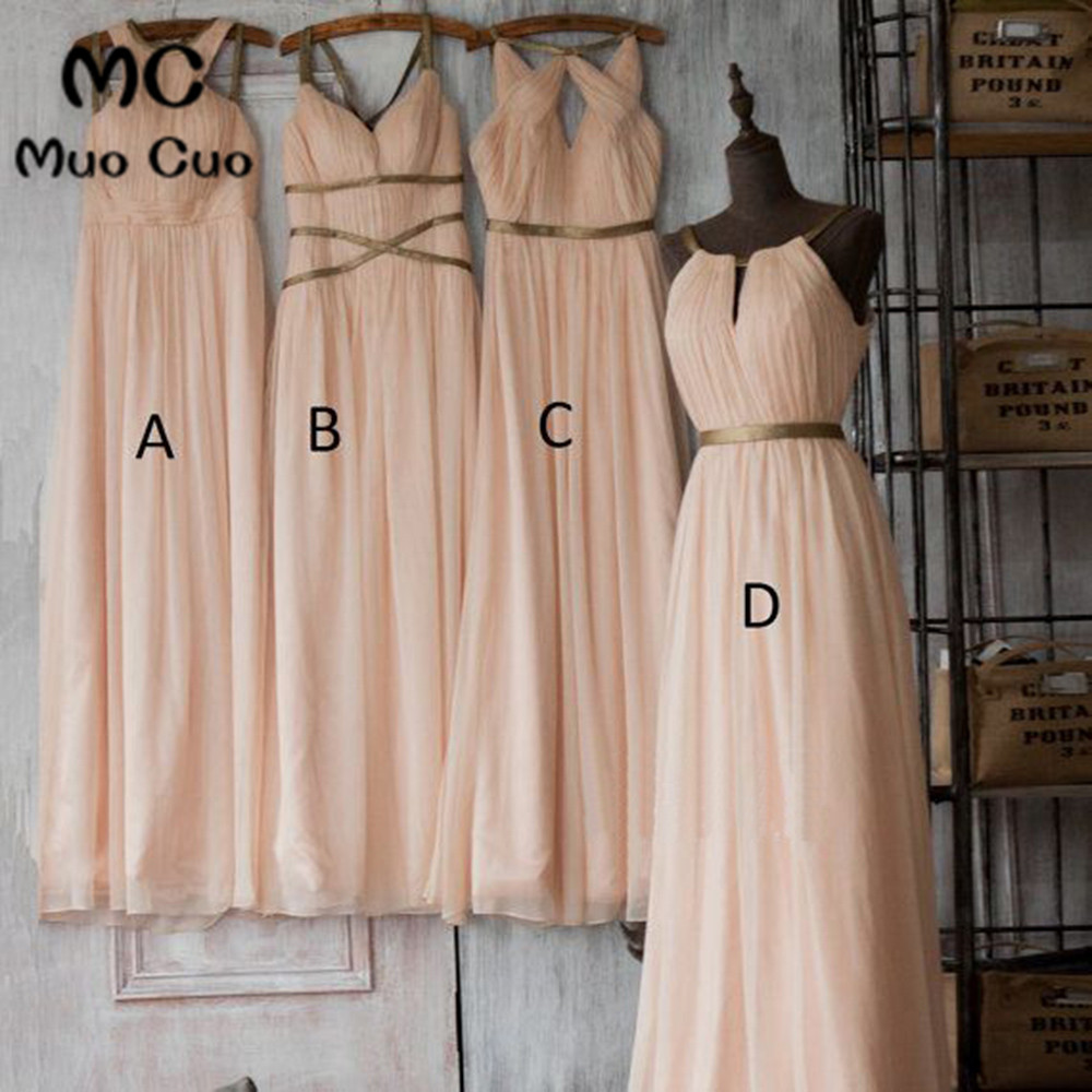 2018 New Nude Pink   Bridesmaid     Dresses   Long ABCD Design Draped Chiffon Wedding Party   Dress   Pleat Prom   Bridesmaid     Dresses