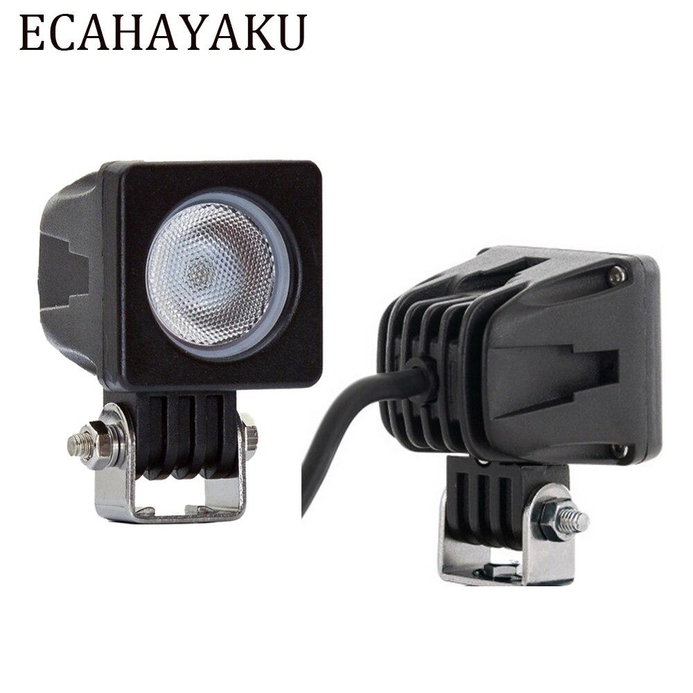 ECAHAYAKU 2pcs 2 inch 10w led work light offroad spot flood lights 12v 24v for SUV truck motorcycle 4x4 4WD ATV fog Driving lamp