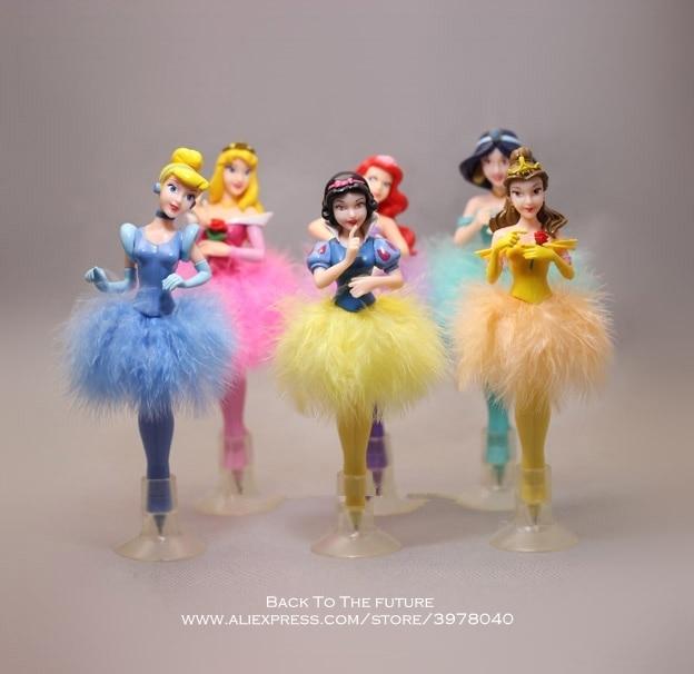 Disney Juego de 6 unidades de bolígrafo Blancanieves de la princesa Cenicienta, figura de acción de decoración, colección de PVC, modelo regalo