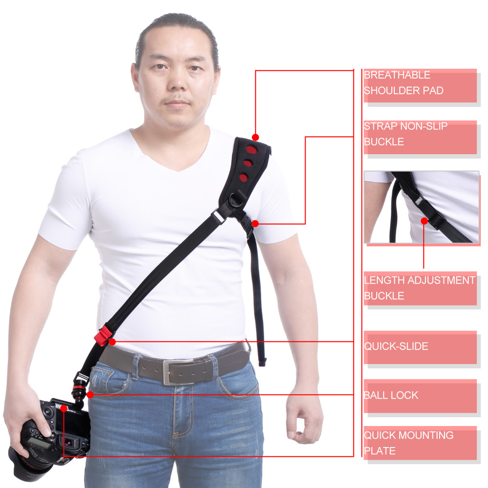 цена на LYNCA Camera Shoulder Strap Black Rapid Neck Quick Release DSLR Neoprene Professional Strap Vintage Mount Belt Sling for camera
