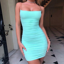 Causey Mesh Bodycon Bandage Dress Women Spaghetti Strap Mini Sexy Party Dresses Slash Neck Backless Summer 2019