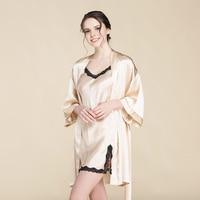 CEARPION Summer New Women Robe Set 100% Silk Mini Kimono Bathrobe Gown Solid Lace Trim Nightdress Female Casaul Home Clothes