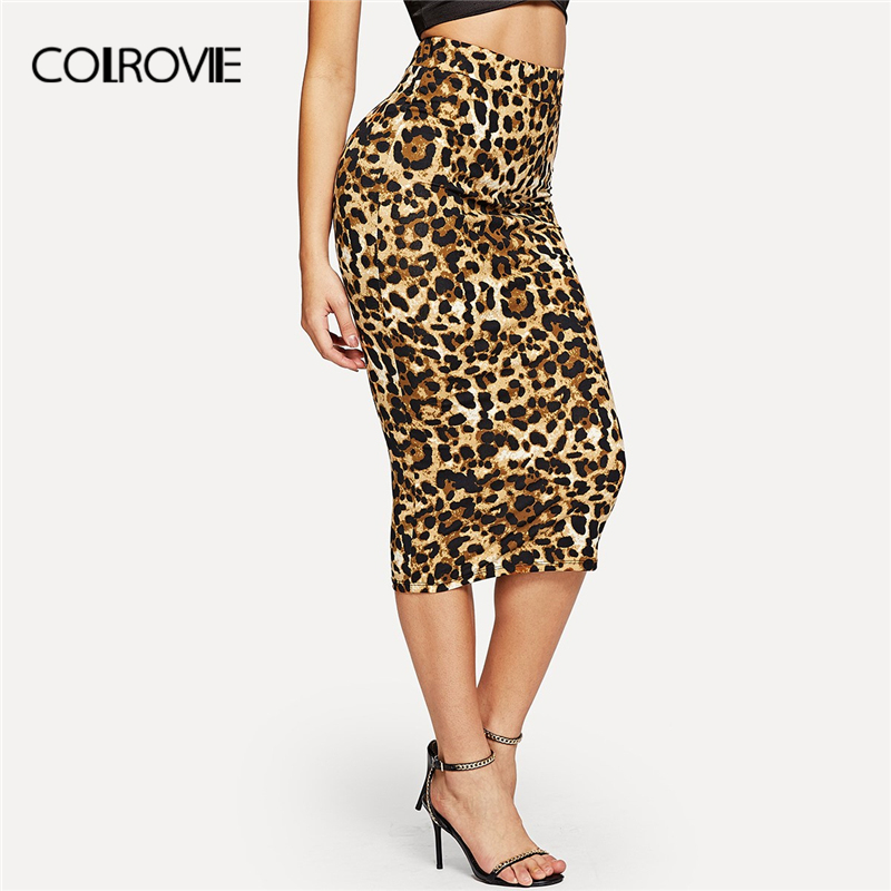 COLROVIE Leopard Print High Waist Workwear Bodycon Winter Long Skirt 2018 Autumn Vintage Fashion Skirts Womens Pencil Sexy Skirt-in Skirts from Women's Clothing
