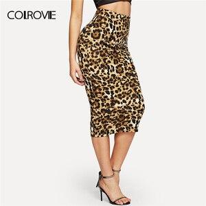 Image 1 - Женская длинная юбка карандаш COLROVIE, облегающая винтажная юбка карандаш с леопардовым принтом и высокой талией, зима 2018