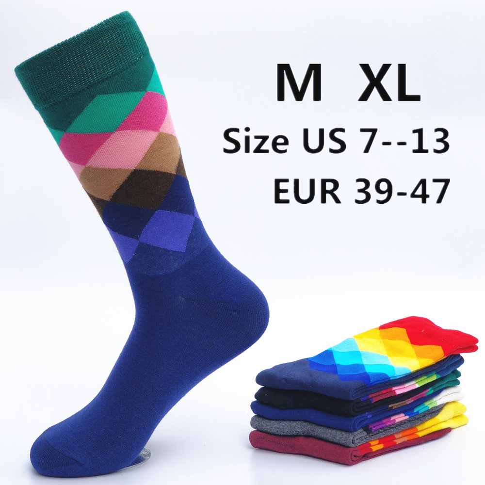 Happy Socks Men Casual Men's Color Diamond Pattern  Five Pairs Of Large Size 44-45-46-47 Fashion Designer Style Cotton Socks Men