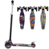 Folding 3 Flashing Wheels Kick Scooter Kickboard With T Bar Seat Child Ride On Toy Adjustable Toddler Kids Children Old Gifts