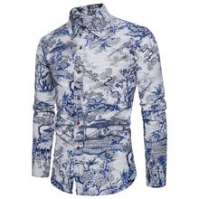 Linen Shirts Men's clothing Floral Blouse Men Social Flower Men's Shirts Slim fit Long-sleeved Plus size New
