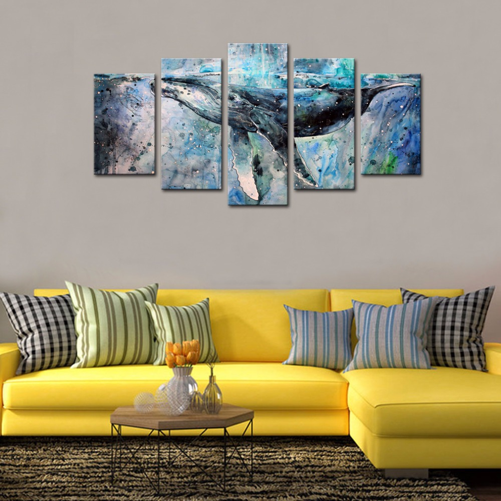 5 Panels Abstract Blue Whale Picture Canvas Prints Modern Wall Art ...