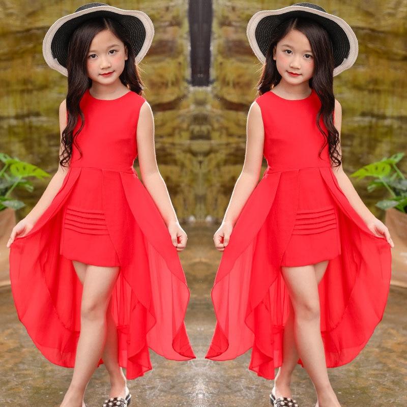 Girls Chiffon Dress 2019 Summer Sleeve Irregular Elegant Princess Party Dress 5 6 7 8 9 10 11 12 year old children's clothing