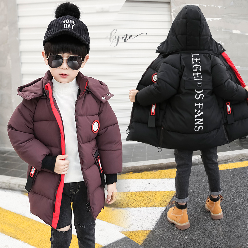 4-9 years Boys cotton coat padded children's winter Hooded Russian winter kids down Printed letter windbreaker Big pocket lbel