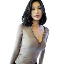 купить White T Shirt Women 2019 Korean Style Women Tops Long Sleeve Button Slim Basic Ropa Mujer Chic Clothes Sexy Deep V Neck T Shirt дешево