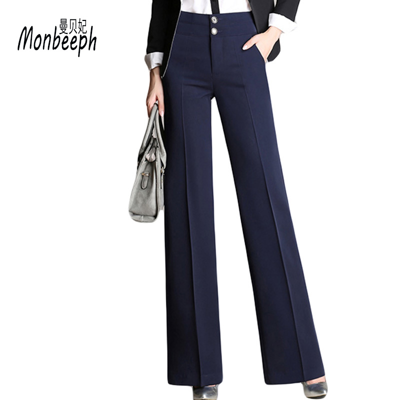 Monbeeph Fashion Trousers female Women Office   Pants   New Designer Ladies Black Navy   Wide     Leg     Pants   Womens Slim Formal Suits   Pants