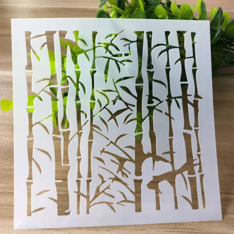 PET Plastic Children Stencils Bamboo Forest Hollow Drawing Template Painting Graffiti Painting Ruler Hand Book Graffiti Ruler
