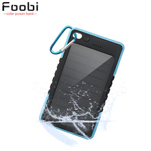 FOOBI Waterproof Solar Power Bank 8000mAh Dual USB Port LED Flash Light Solar Power Bank for Cellphones and Tablets