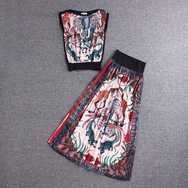 Новый 2016 весна лето мода женщин животных печать рукавов топы жилет сексуальная сторона щель длинная юбка костюм юбки из двух частей комплект