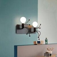 2019 креативный современный черный настенный светильник Железный две головы туалетное зеркало настенный светильник для детской кровати ряд