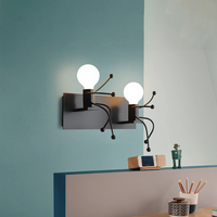 2019 Creative modern black wall lamp iron two head vanity mirror wall light for children bed room beside room cafe hotel