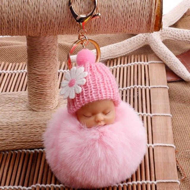 2018 Nova Kawaii Fofo Bola Pompom Pele Saco de Dormir Baby Doll Mulheres Chaveiro Carro Acessórios Presentes Pingente de Chave Anel Titular