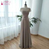 Шифон Длинные платья невесты элегантные складки Sheer шеи Кепки рукавом фрейлина платья свадебное платье гость ZB044