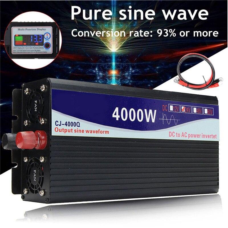 Car Inverter Intelligent Solar Pure Sine Wave Inverter 12V/24V To 110V 5000W/6000W Power Converter Digital Display For Home