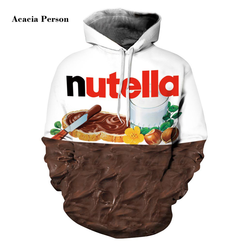 New Autumn Winter Men/women Hoodies With Cap Print Nutella Food Hip Hop Hooded 3d Sweatshirts Hoody Tracksuits Top