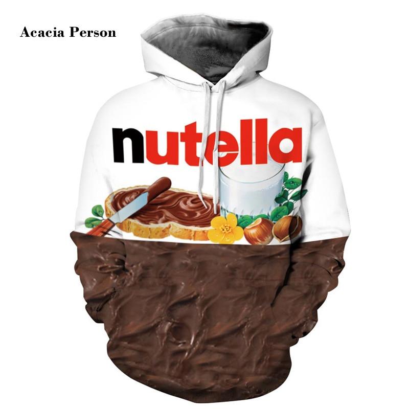 New Autumn Winter Men/women Hoodies With Cap Print Nutella Food Hip Hop Hooded 3d Sweatshirts Hoody Tracksuits Top