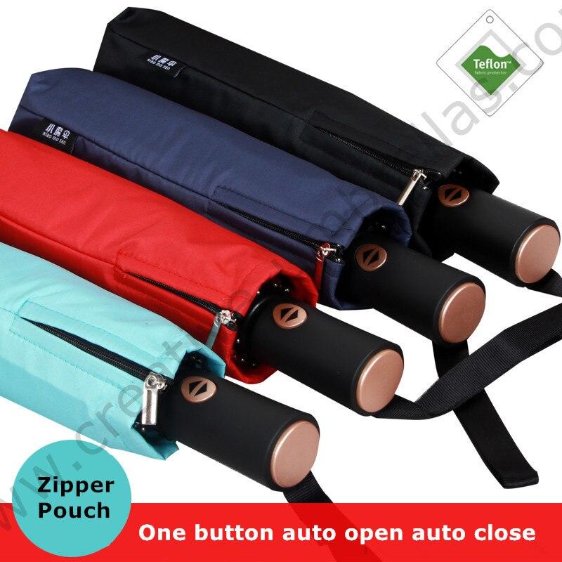 104 cm 2-3pers 75 T pur acier alliage auto ouvrir et fermer automatiquement trois fois anti-tonnerre coupe-vent d'affaires parapluie zipper parasol