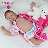 55 Cm Soft Silicone Reborn Babies Dolls Lifelike Sleep Newborn Dolls With Clothes For Kids Toy