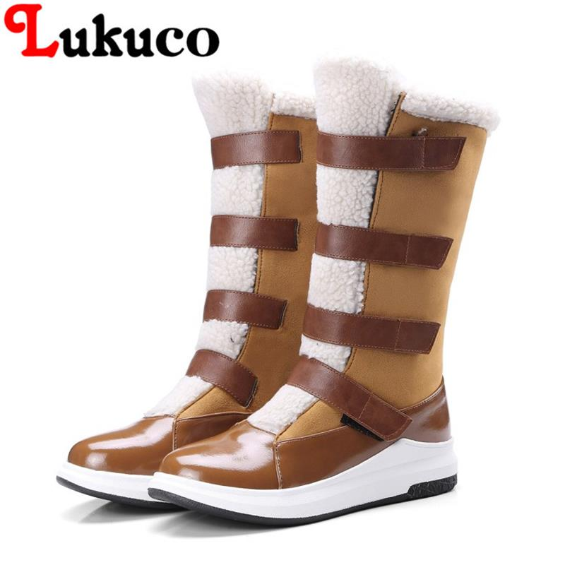 2018 EUR size 37 38 39 40 41 42 43 Lukuco women winter boots warm plush design high quality low price lady shoes free shipping 2019 lukuco winter warm plush women boots oversize 38 39 40 41 42 43 44 45 46 high quality botas custom handmade pu lady shoes