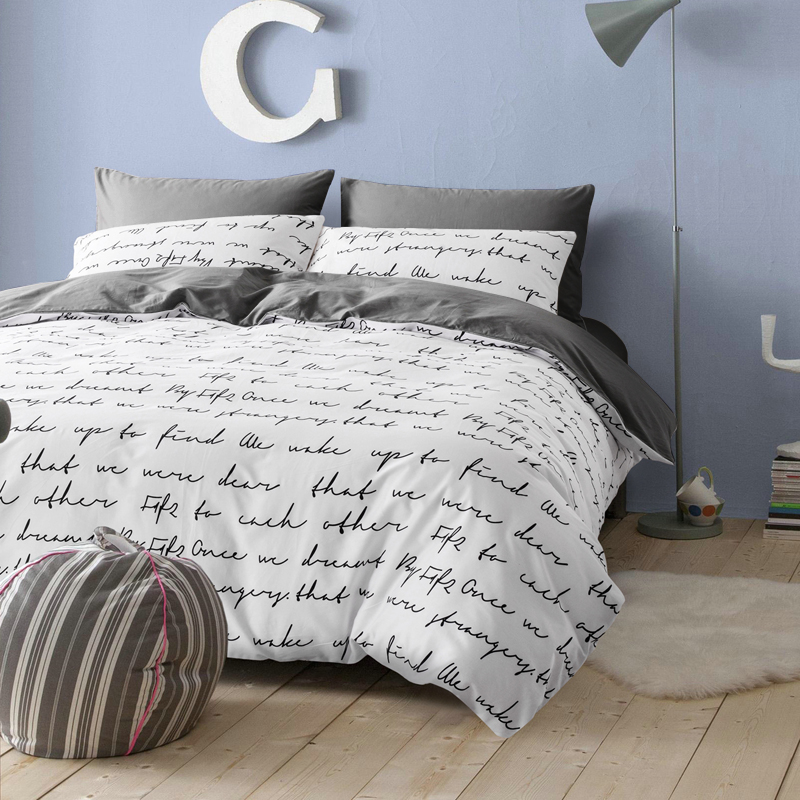 Russia Spain Bedding Set 22 Europe Queen Double King Single Duvet Cover Set  Bed Linen Set White Black Gray BedClothes Letter