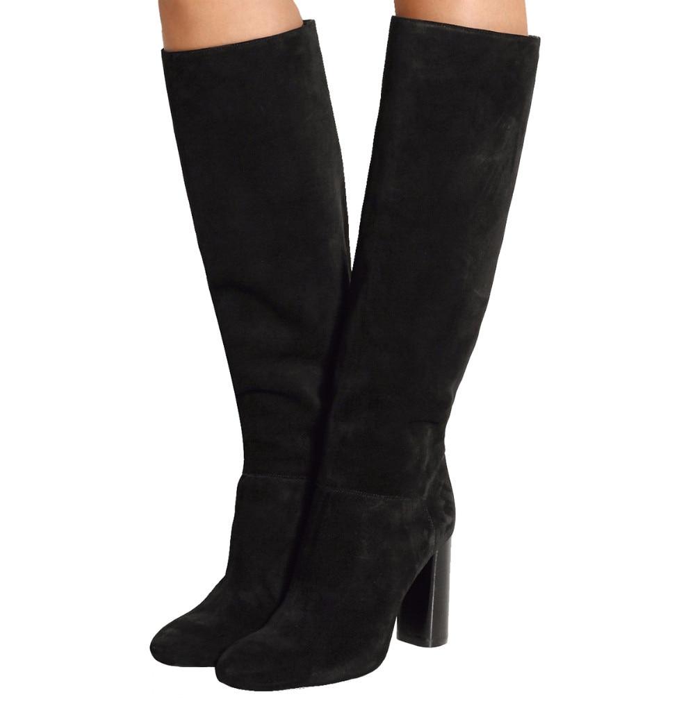 Talons Bottes Sur Femmes Chaussures De Conception Hauts Genou Noir Marque Le Date Qualité Supérieure En Daim Longues D'hiver Pour 07nwRSq