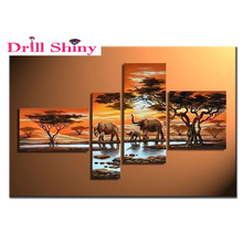 3d 4pcs diamond painting cross stitch painting full round drill embroidery rhinestones painting 4pcs kits triptych painting