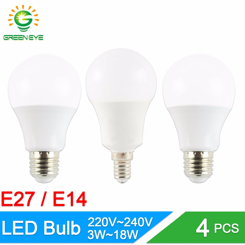 Lampadina Led 3w.Us 1 98 20 Off Greeneye 4pcs Led Bulb E14 E27 3w 5w 7w 9w 12w 15w Ac 220v 240v Real Watt Lumiere Bombilla Lampadina Led Lamp Aluminum In Led Bulbs