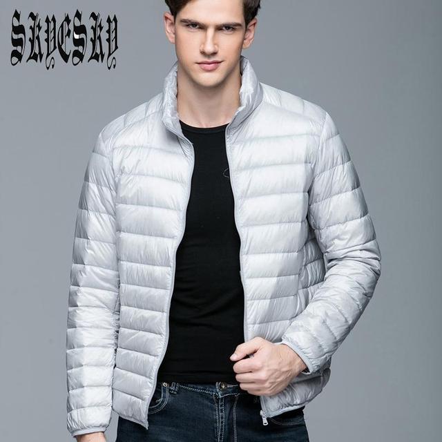 Ultraleves jaqueta masculina Dos Homens 90% de Pato Branco Para Baixo Jaqueta de Inverno À Prova D' Água Para Baixo Parkas Outerwear gola