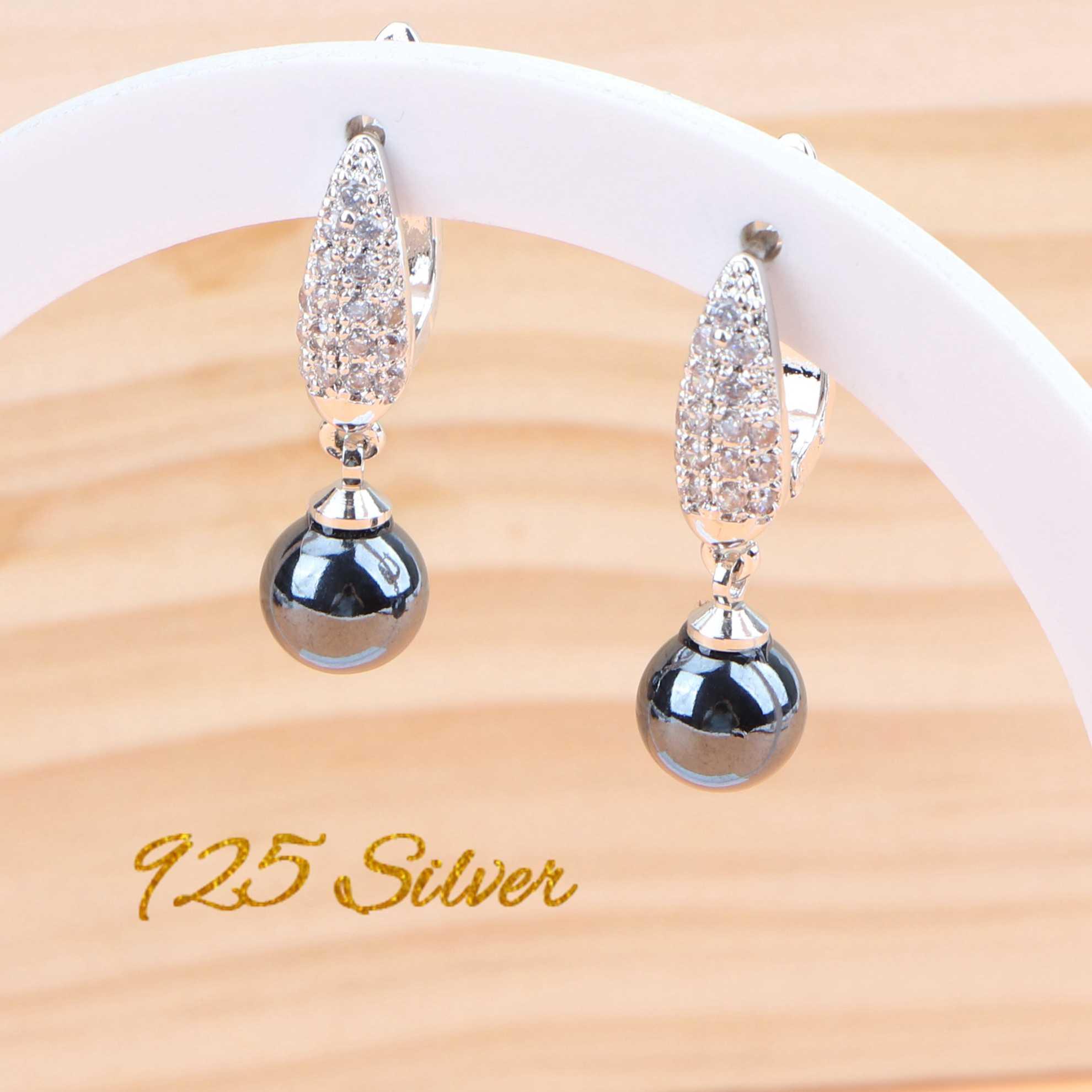สีดำไข่มุกเจ้าสาวเครื่องประดับชุดผู้หญิงเงิน 925 เครื่องประดับ Zircon ต่างหูสร้อยข้อมือแหวนจี้สร้อยคอชุดของขวัญกล่อง