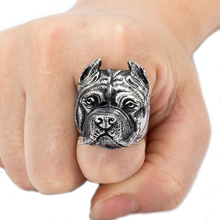 Davieslee Gift Mens Ring  Punk Pitbull Silver Tone Stainless Steel Ring