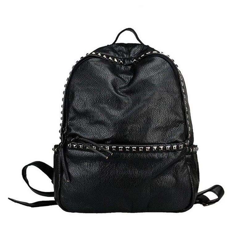 Brand Fashion Women Backpacks Rivet Black Soft Washed Leather Bag Schoolbags For Girls Female Leisure Bag Backpack korean backpack women backpacks rivet black soft leather bags shoulder schoolbags for girls female outdoor travel sports bag