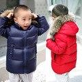 Младенца способа женщин Зима Пуховик Сплошной Цвет Толстый Snowsuit Длинный Отрезок Мальчиков Девочек Одежда С Капюшоном Вниз Парки Пальто