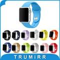 Pulseira de borracha de silicone para a apple watch band 38mm 42mm correia de pulso iwatch pulseira com embutido adaptadores preto azul marrom vermelho
