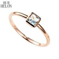 HELON 0.3ct натуральный Аквамарин кольцо 14 К розовое золото Аквамарин Обручение кольцо обручальное кольцо Для женщин Мода Jewelry Юбилей кольцо