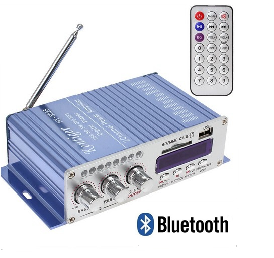 Blue Bluetooth power small borne amplifier for USB phone, USB computer with Dc battery line