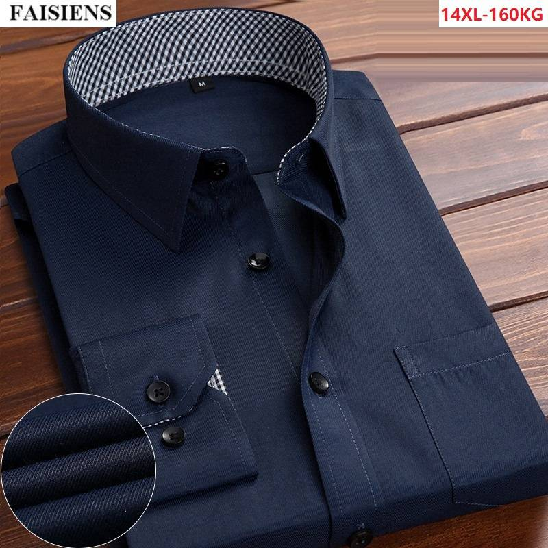 FAISIENS Formal Men Shirt Long Sleeve Classic Larger Size 9XL 10XL 12XL Loose Wedding Big 14XL Comfortable Office Dress Blouse
