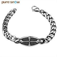 Pure snow 2017 punk rock gótico cruz de aço inoxidável pulseira para homens chain link masculina do punk jóias acessórios